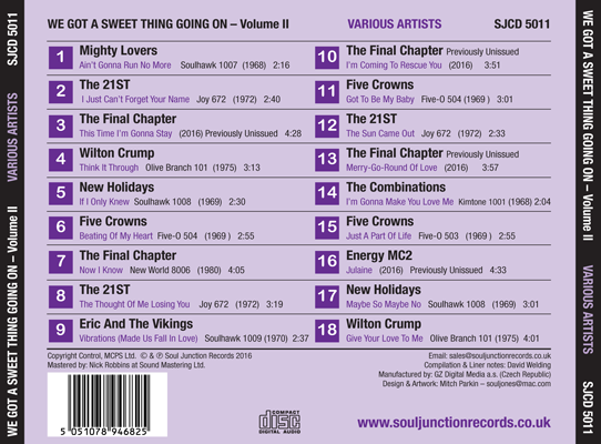 Various Artists - We Got A Sweet Thing Going On Volume 2 - Track Listing
