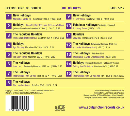 The Holidays - Getting Kind of Soulful - Track Listing